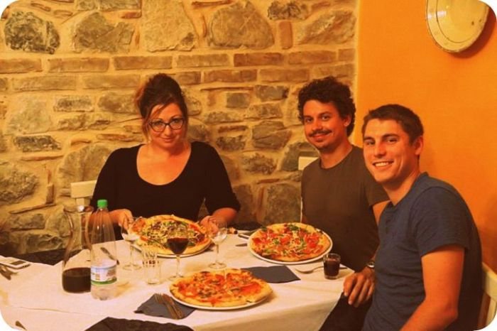 Ash, Vid, Mike--pizza in the incredibly delicious depths of Calabria