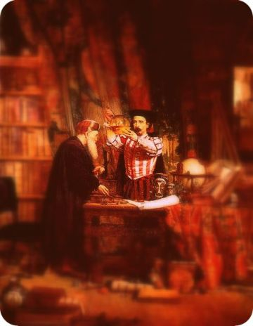 A re-working of William Fettes Douglas 1853 The Alchemist, which sets an antiquarian in his lair of books, gadgets, and curiosities.
