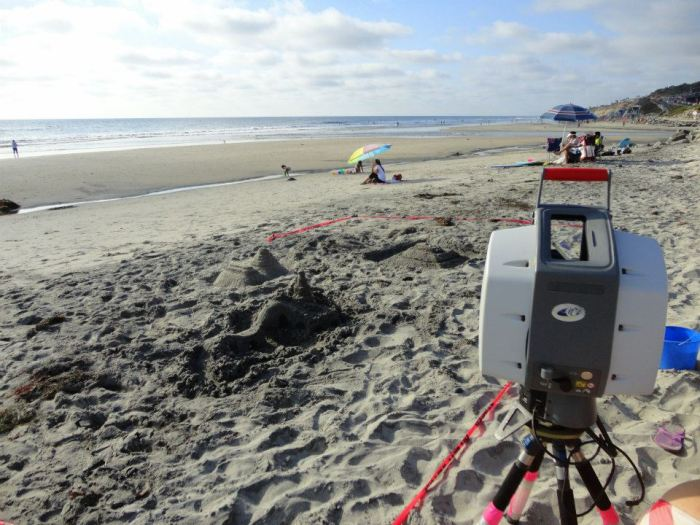 A Leica Scanstation 2 on deck ready to laser scan sand castles as part of resolution experiments.