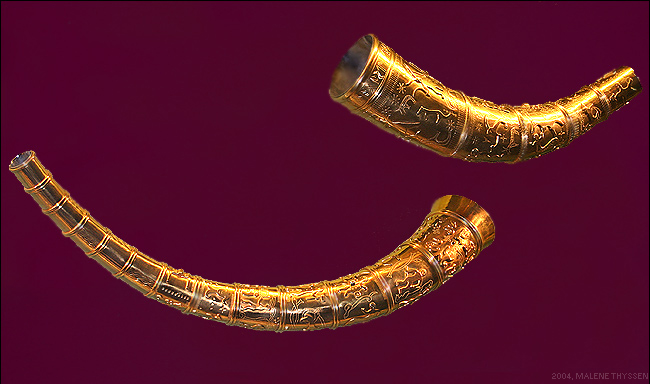 The replicas of the Golden Horns of Gallehus at the Danish National Museum.