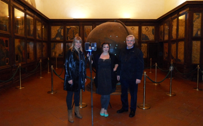 Ashley M. Richter with art historian Katharina Giraldi-Haller and art diagnostician Maurizio Seracini after laser scanning the Palazzo Vecchio Mappa Mundi in Florence, Italy.