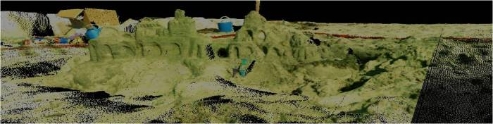 Screenshot of sand castle point clouds collected via laser scanning during an Education Outreach day of Sandcastles for Science at Torrey Pines Beach, San Diego, California.